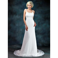 Empire Chiffon Sleeveless Scoop Court Train Wedding Dresses (002001673)