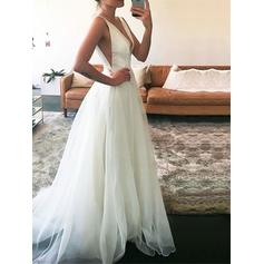 Magnificent Deep V Neck A-Line/Princess Wedding Dresses Floor-Length Sweep Train Tulle Sleeveless