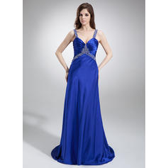 A-Line/Princess Sweep Train Prom Dresses V-neck Charmeuse Sleeveless (018002831)
