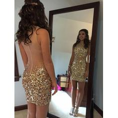 Sheath/Column Scoop Neck Short/Mini Homecoming Dresses With Beading Sequins
