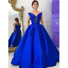 Ball-Gown V-neck Floor-Length Taffeta Prom Dresses With Ruffle Beading