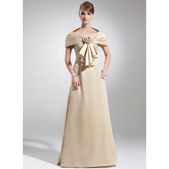 Empire Satin Sleeveless Scoop Neck Floor-Length Zipper Up Mother of the Bride Dresses