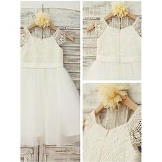 A-Line/Princess Scoop Neck Knee-length With Lace Tulle/Lace Flower Girl Dresses (010211782)