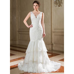 Trumpet/Mermaid Sweetheart Court Train Wedding Dresses With Cascading Ruffles (002210504)