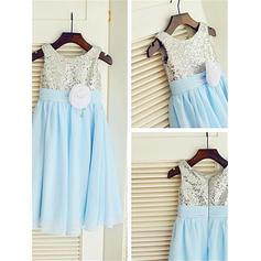 A-Line/Princess Scoop Neck Ankle-length With Flower(s) Chiffon/Sequined Flower Girl Dresses