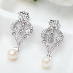 Earrings Copper/Zircon/Platinum Plated Imitation Pearls Pierced Ladies' Wedding & Party Jewelry