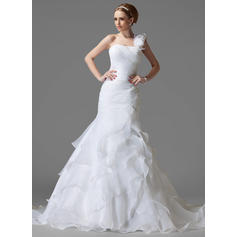 Elegant One Shoulder Trumpet/Mermaid Wedding Dresses Chapel Train Satin Organza Sleeveless