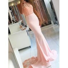 Trumpet/Mermaid High Neck Court Train Satin Prom Dresses