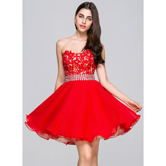 A-Line/Princess Sweetheart Short/Mini Homecoming Dresses With Beading Sequins (022068046)