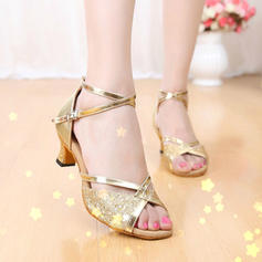 Women's Latin Sandals Leatherette Sparkling Glitter With Ankle Strap Dance Shoes