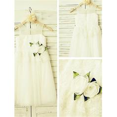 A-Line/Princess Scoop Neck Ankle-length With Flower(s) Tulle/Lace Flower Girl Dresses (010212003)