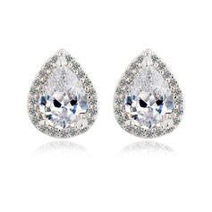 Earrings Zircon/Platinum Plated Pierced Ladies' Shining Wedding & Party Jewelry