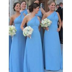 Sheath/Column Chiffon Bridesmaid Dresses Ruffle One-Shoulder Sleeveless Floor-Length