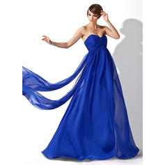 Empire Sweetheart Watteau Train Evening Dresses With Ruffle