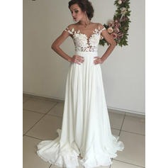 A-Line/Princess Scoop Neck Sweep Train Wedding Dresses With Lace Appliques Split Front