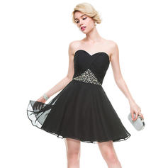 A-Line/Princess Sweetheart Short/Mini Homecoming Dresses With Ruffle Beading Sequins (022214103)