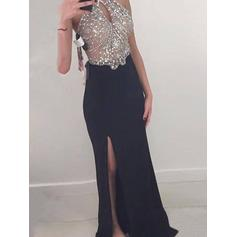 Sheath/Column Jersey Prom Dresses Beading Halter Sleeveless Floor-Length (018210251)
