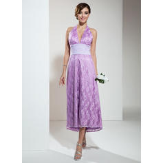 A-Line/Princess Lace Bridesmaid Dresses Ruffle Beading Halter Sleeveless Asymmetrical (007001135)
