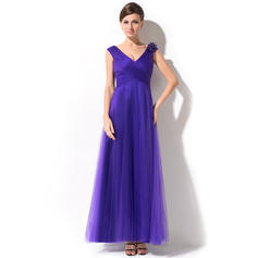 A-Line/Princess Tulle Sleeveless V-neck Ankle-Length Zipper Up Mother of the Bride Dresses