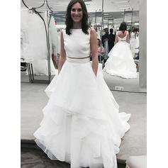 A-Line/Princess Organza Scoop Court Train Wedding Dresses