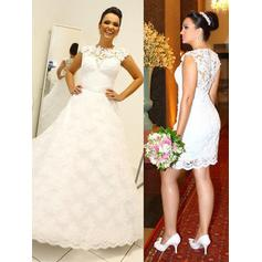 Ball-Gown Scoop Neck Detachable Wedding Dresses With Lace (002210858)