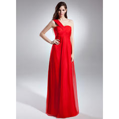 Empire One-Shoulder Floor-Length Evening Dresses With Ruffle