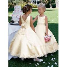 2018 New Square Neckline Ball Gown Flower Girl Dresses Ankle-length Satin Sleeveless (010145262)