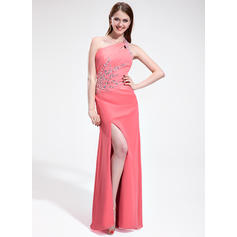 Sheath/Column Chiffon Prom Dresses Ruffle Beading Split Front One-Shoulder Sleeveless Floor-Length (018025301)