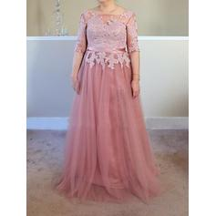 A-Line/Princess Tulle 1/2 Sleeves Square Neckline Sweep Train Lace Up Mother of the Bride Dresses