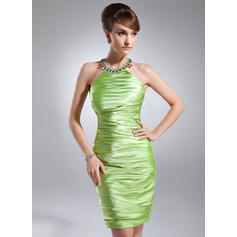 Sheath/Column Scoop Neck Knee-Length Charmeuse Cocktail Dresses With Ruffle Beading (016021182)