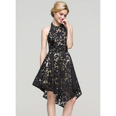 A-Line/Princess Halter Asymmetrical Lace Homecoming Dresses With Beading Sequins