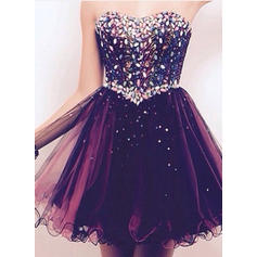 A-Line/Princess Sweetheart Short/Mini Homecoming Dresses With Sequins (022212276)