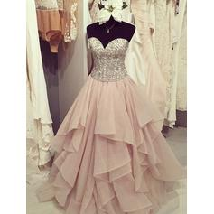 Ball-Gown Sweetheart Floor-Length Prom Dresses With Ruffle Beading Appliques