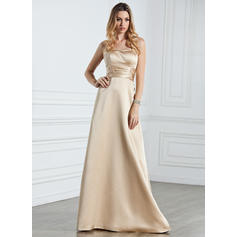 Empire Satin Bridesmaid Dresses Ruffle Halter Sleeveless Floor-Length