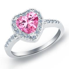 Rings Copper/Zircon/Platinum Plated Ladies' Sweet Heart Wedding & Party Jewelry