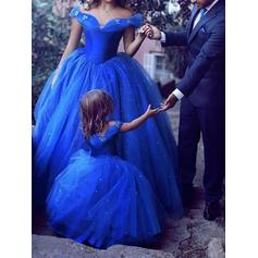 Ball-Gown Off-the-Shoulder Floor-Length Tulle Prom Dresses With Beading (018217894)