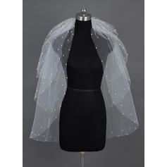 Fingertip Bridal Veils Tulle Four-tier Classic With Cut Edge/Pearl Trim Edge Wedding Veils