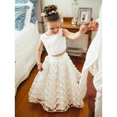 Fashion Scoop Neck A-Line/Princess Flower Girl Dresses Floor-length Satin/Lace Sleeveless