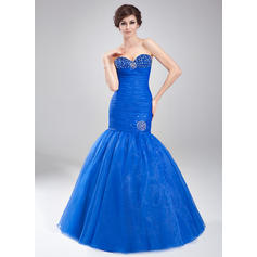 Trumpet/Mermaid Sweetheart Floor-Length Prom Dresses With Ruffle Beading (018020791)