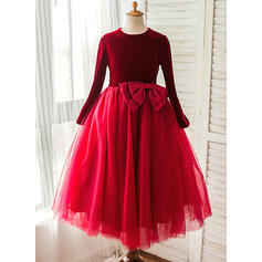A-Line/Princess Scoop Neck Tea-length With Bow(s) Satin/Tulle Flower Girl Dresses (010212175)