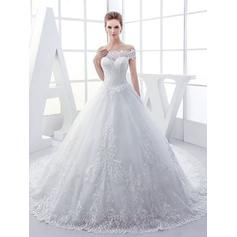 Ball-Gown Tulle Sleeveless Off-The-Shoulder Royal Train Wedding Dresses (002147878)