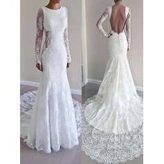 Trumpet/Mermaid Lace Long Sleeves Scoop Court Train Wedding Dresses