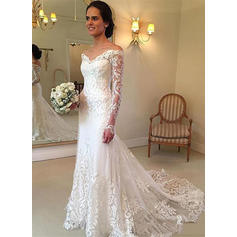 Flattering Off-The-Shoulder Trumpet/Mermaid Wedding Dresses Floor-Length Court Train Tulle Long Sleeves