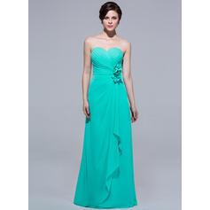 A-Line Sweetheart Floor-length Chiffon Bridesmaid Dress With Flowers And Cascading Ruffles (007037216)