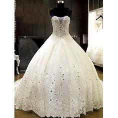 Ball-Gown Sweetheart Chapel Train Wedding Dresses With Beading Appliques Lace (002213534)