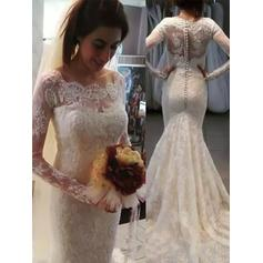 Trumpet/Mermaid Scoop Sweep Train Wedding Dresses With Appliques Lace