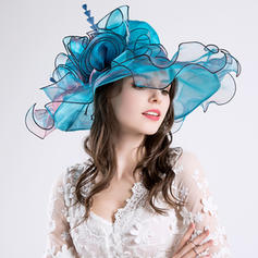 Cotton/Net Yarn With Silk Flower Floppy Hat Glamourous Ladies' Hats