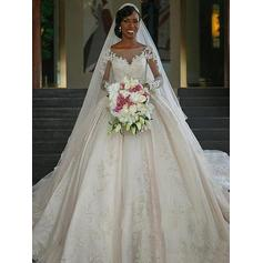 Ball-Gown Scoop Chapel Train Wedding Dresses With Appliques Lace
