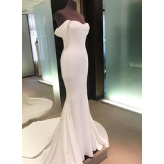 Sheath/Column Off-The-Shoulder Court Train Wedding Dresses