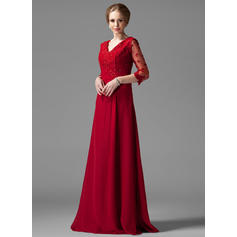 A-Line/Princess Chiffon 3/4 Sleeves V-neck Floor-Length Zipper Up Mother of the Bride Dresses (008004443)